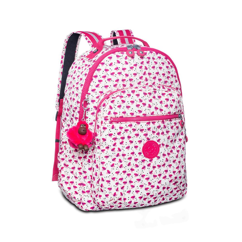 5bb6c0a87 Mochila Escolar Seoul Up Branca e Rosa Pink Wings Kipling - allbags